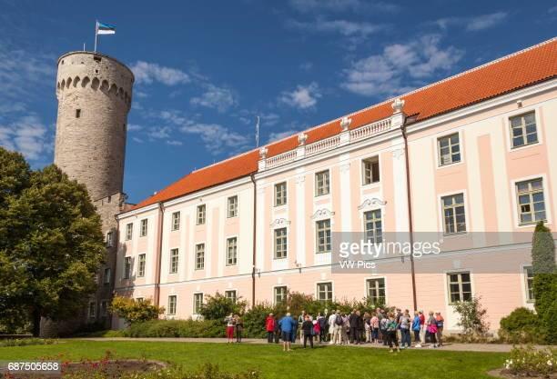 Pikk Hermann Tower part of Toompea Castle and Estonian Parliament building Old Town Tallinn Estonia