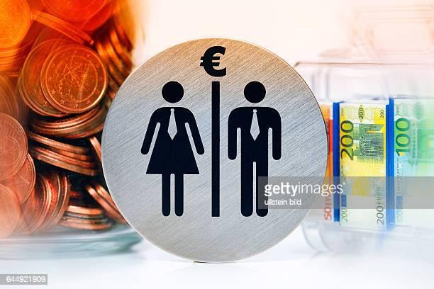 Piktogramme von Mann und Frau Geldkoffer und Geldmünzen Lohnungleichheit