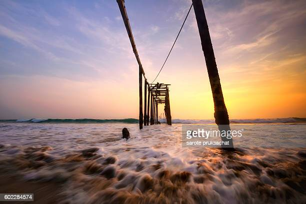 Pilai bridge , Old wooden bridge Phuket Thailand.
