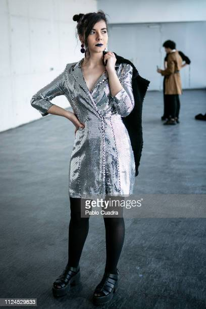 Pilar Barrada wears Pull Bear shoes and coat and Bershka suit during the Mercedes Benz Fashion Week Madrid Autumn/Winter 201920 at Ifema on January...