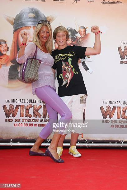 Pilar Brehme and son Alessio at the Premiere Of Vicky the Viking In Mathäser cinema in Munich