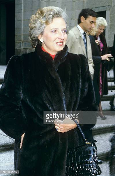 Pilar de Borbon sister of King Juan Carlos de Borbon the day of the baptism of her son Bruno Alejandro Humera Madrid Spain