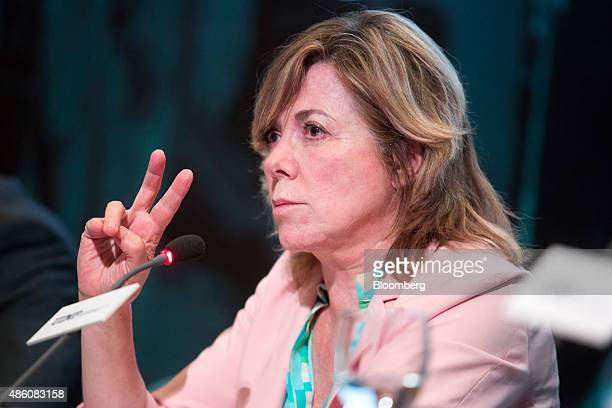 Pilar del Castillo a member of the European parliament reacts at the opening session of the 29th Telecommunications and Digital Economy conference in...
