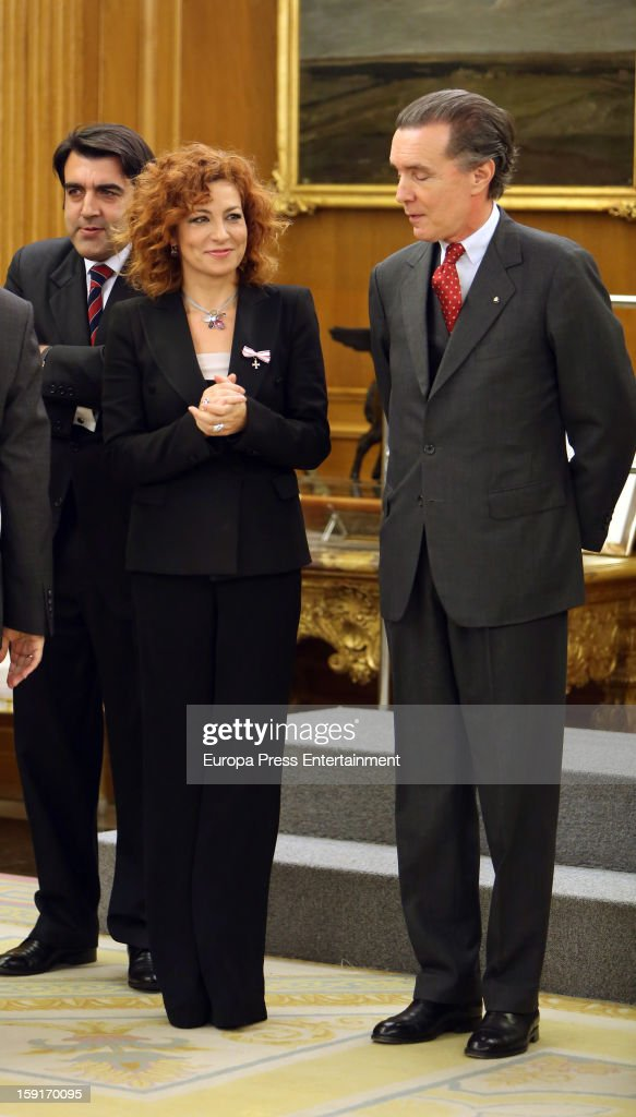 Pilar Jurado (C) attends an audience at Zarzuela Palace on January 9, 2013 in Madrid, Spain.