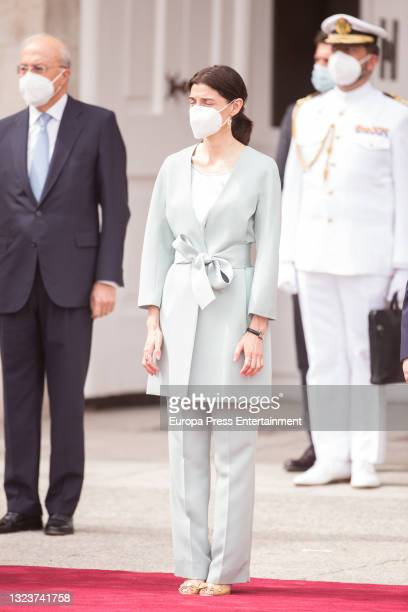 Pilar Llop during the reception of the President of the Republic of Korea, Moon Jae-in, and his wife, Kim Jung-sook, upon their arrival in Spain on...