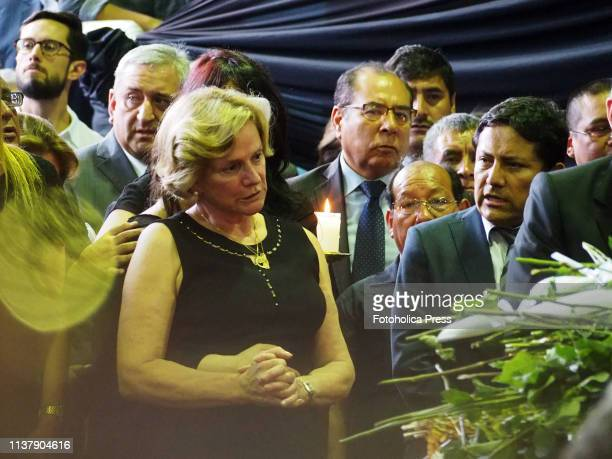 Pilar Nores de Garcia attending to the funeral of former Peruvian president Alan Garcia Perez at La Casa del Pueblo headquarters of the Peruvian APRA...