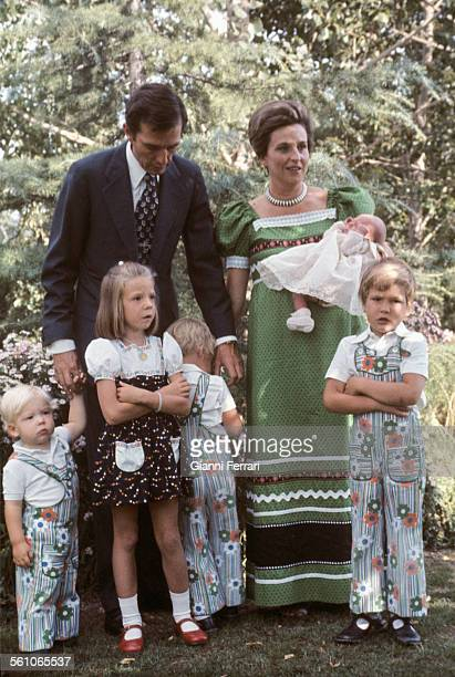Pilar of Borbon sister of King Juan Charles of Borbon with her husband Luis Gomez Acebo and her sons Luis Bertran Simoneta Fernando Humberto y Juan...