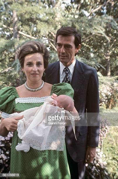 Pilar of Borbon sister of King Juan Charles of Borbon with her husband Luis Gomez Acebo and her son Fernando Humberto Madrid Spain