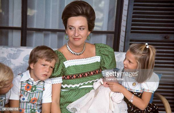 Pilar of Borbon sister of King Juan Charles of Borbon withg her sons Bruno Alejandro Fernando Humberto and Simoneta 1974 Madrid Spain
