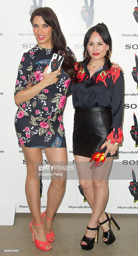 Pilar Rubio (L) and Maria Escote (R) attend the Xperia by Maria Escote campaign photocall at The Hat bar on July 13, 2015 in Madrid, Spain.