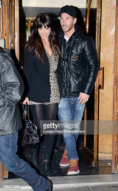 Pilar Rubio and Sergio Ramos are seen leaving a restaurant after celebrating Pilar Rubio's birthday on March 16 2013 in Madrid Spain