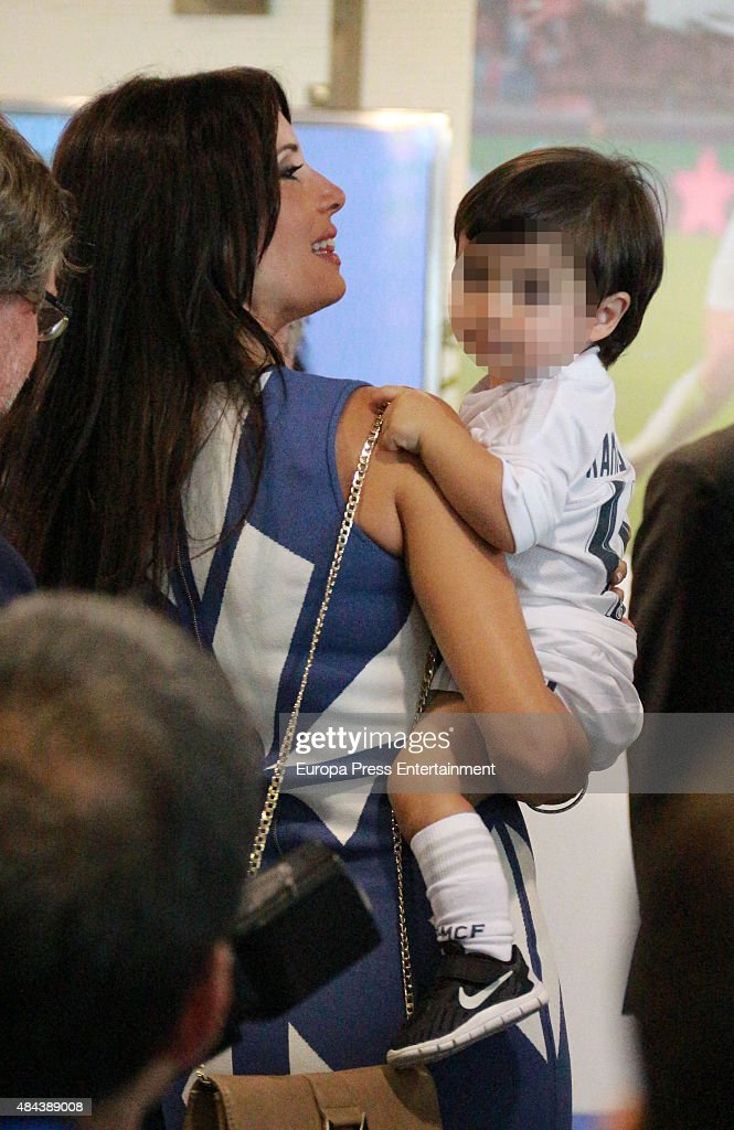 Pilar Rubio and Sergio Ramos Rubio during a press conference to announce Ramos' new five-year contract with Real Madrid at the Santiago Bernabeu stadium on August 17, 2015 in Madrid, Spain.