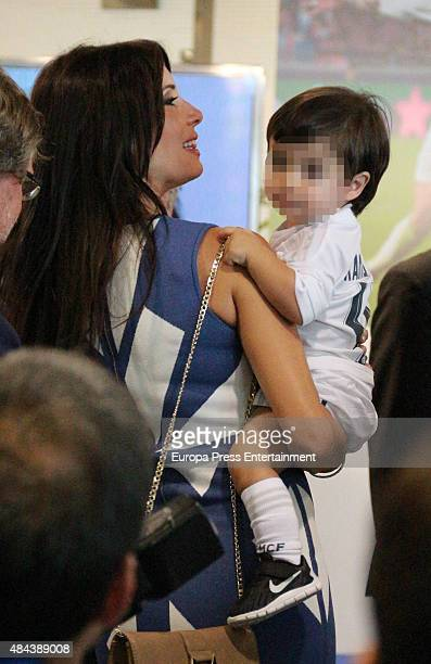 Pilar Rubio and Sergio Ramos Rubio during a press conference to announce Ramos' new fiveyear contract with Real Madrid at the Santiago Bernabeu...