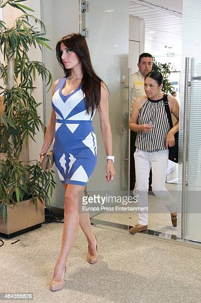 Pilar Rubio during a press conference to announce Ramos' new fiveyear contract with Real Madrid at the Santiago Bernabeu stadium on August 17 2015 in...
