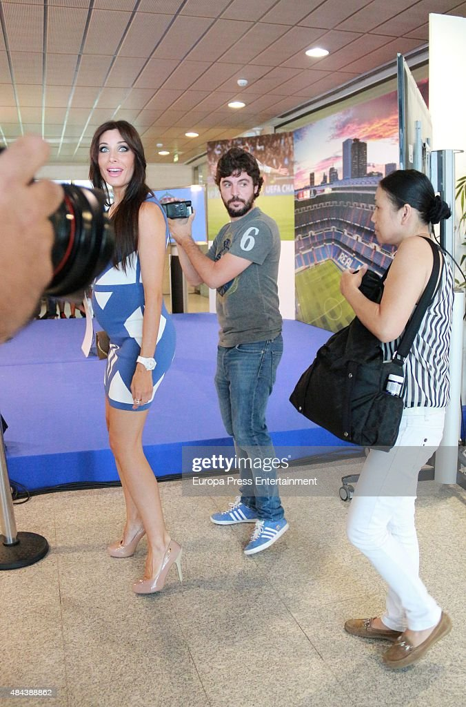 Pilar Rubio during a press conference to announce Ramos' new five-year contract with Real Madrid at the Santiago Bernabeu stadium on August 17, 2015 in Madrid, Spain.
