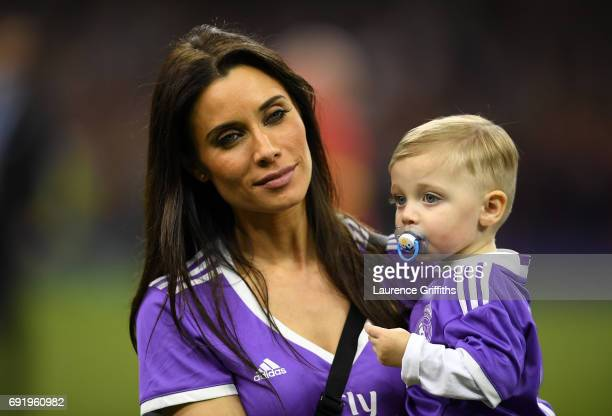 Pilar Rubio Sergio Ramos wife is seen with their child after the UEFA Champions League Final between Juventus and Real Madrid at National Stadium of...