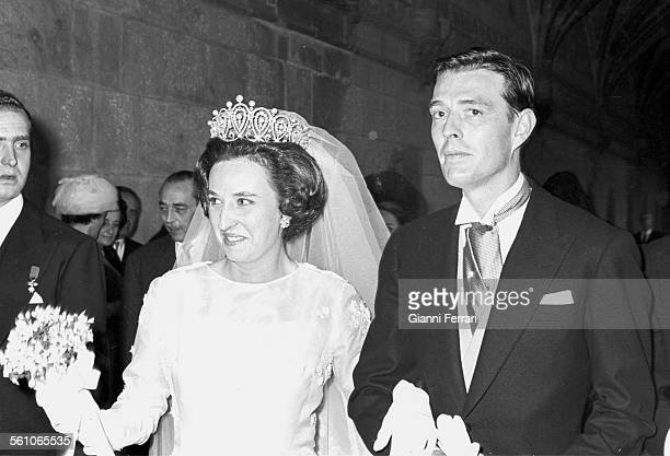 Pilar sister of King Juan Carlos de Borbon the day of her wedding to Luis Gomez Acebo Estoril Portugal