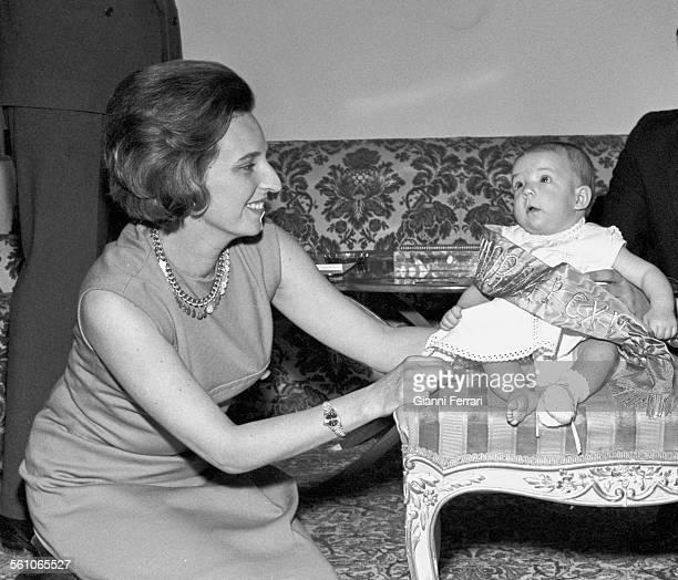 Pilar sister of King Juan Carlos de Borbon with her first daughter Simoneta Madrid Spain