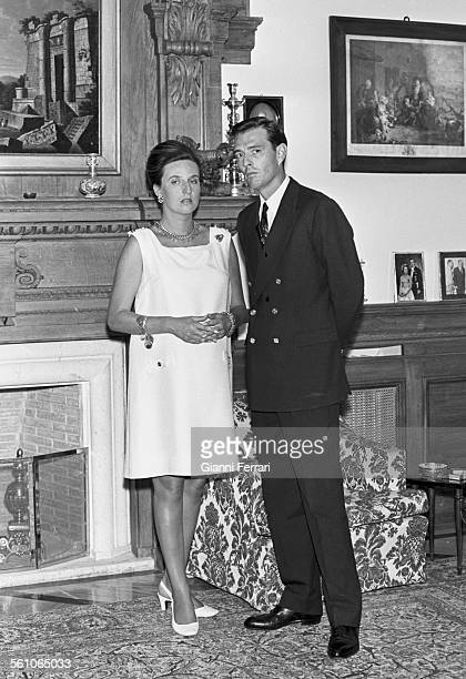 Pilar sister of King Juan Carlos de Borbon with her husband Luis Gomez Acebo at their home in Madrid Spain