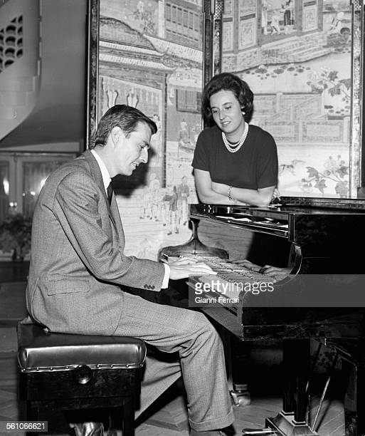 Pilar sister of King Juan Carlos de Borbon with her husband Luis Gomez Acebo at her home in Madrid Spain