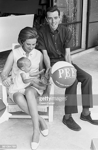 Pilar sister of King Juan Carlos de Borbon with her husband Luis Gomez Acebo and their first daughter Simoneta Madrid Spain