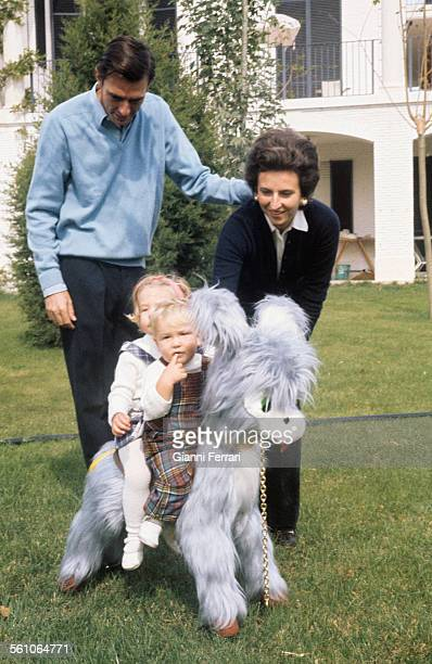 Pilar sister of King Juan Carlos de Borbon with her husband Luis Gomez Acebo and her two childrenSimoneta and Filiberto Madrid Spain