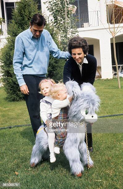 Pilar sister of King Juan Carlos de Borbon with her husband Luis Gomez Acebo and her two children Simoneta and Filiberto Madrid Spain