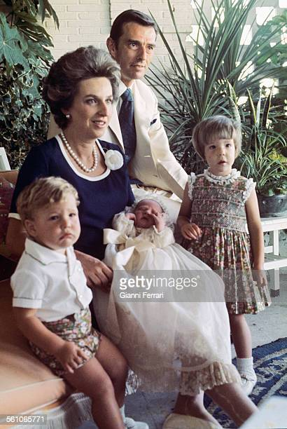 Pilar sister of King Juan Carlos de Borbon with her husband Luis Gomez Acebo and her sons Bruno Alejandro Simoneta and Filiberto Madrid Spain