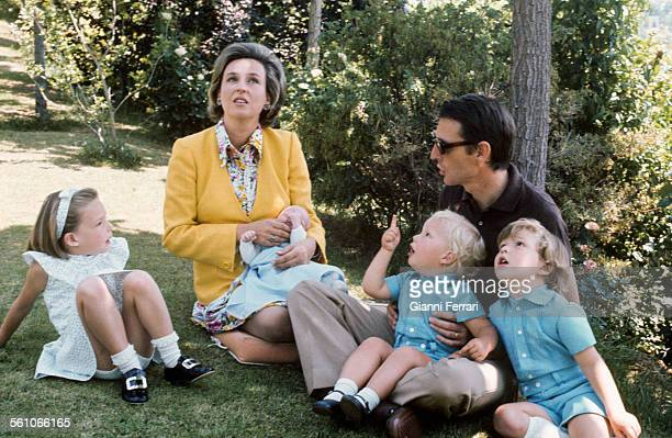 Pilar sister of King Juan Carlos de Borbon with her husband Luis Gomez Acebo and her sons Alexander Simoneta Luis Bertan and Filiberto Madrid Spain