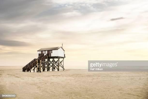pile dwelling on the beach of sankt peter-ording, boehler strand, sankt peter-ording, north frisia, schleswig-holstein, germany - sankt peter ording stock-fotos und bilder