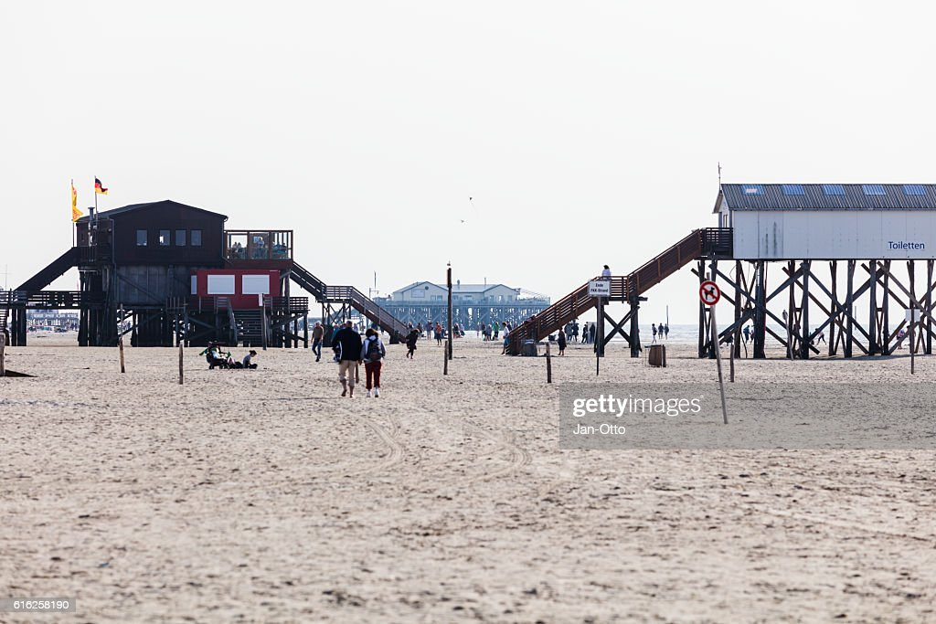 Pile dwellings in St. Peter-Ording, Germany : Stock Photo