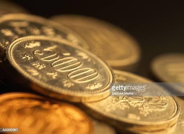 Pile of 500 Yen Coins