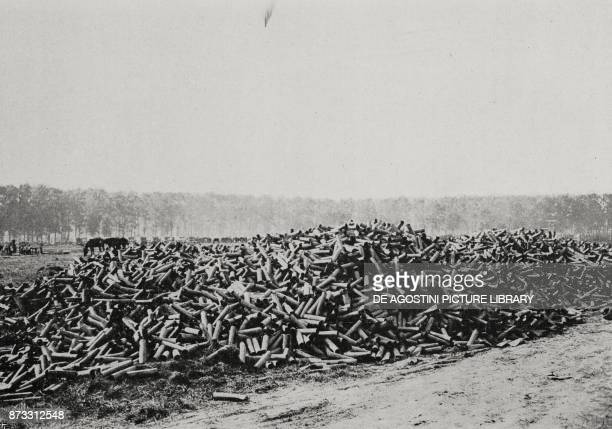 Pile of 75mm shell casings consumed by a battery on the Western Front in 48 hours World War I from L'Illustrazione Italiana Year XLIII No 35 August...