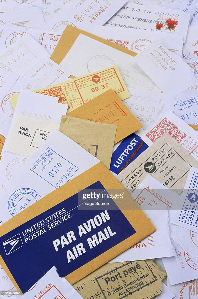 Pile of air mail : Stock Photo