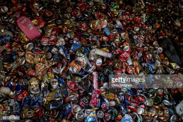A pile of aluminium cans are seen after sorting at the Odayeri Recycling and Compost Waste Facility on March 12 2018 in Istanbul Turkey Istanbul's...