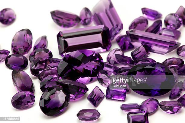 pile of amethyst - amethyst stock pictures, royalty-free photos & images