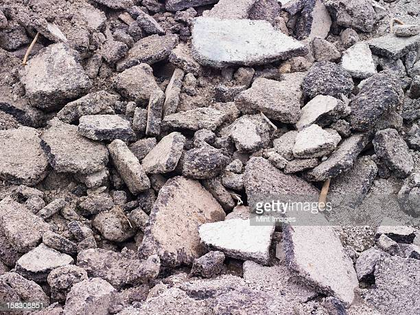 Pile of asphalt and concrete, rubble from construction site