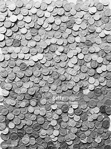 Pile of assorted nickels and dimes