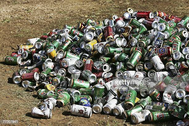 A pile of beer cans is seen during practice for the Bathurst 1000 which is round ten of the V8 Supercars Championship at the Mount Panorama circuit...