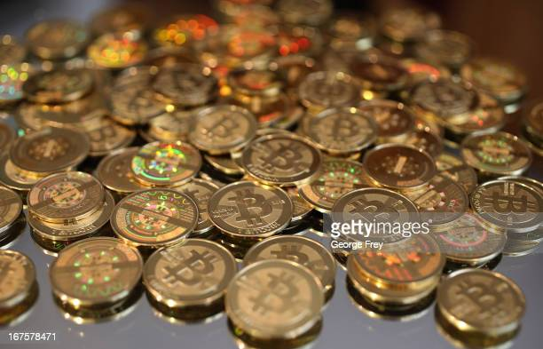 A pile of Bitcoins are shown here after Software engineer Mike Caldwell minted them in his shop on April 26 2013 in Sandy Utah Bitcoin is an...