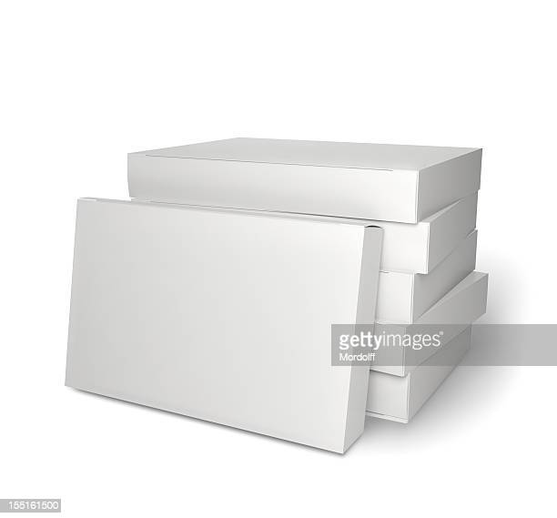 Pile of blank product packages isolated on white