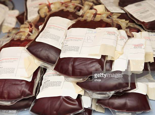 Pile of blood bags  with red blood cells