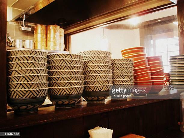 Pile of bowls, Ramen shop
