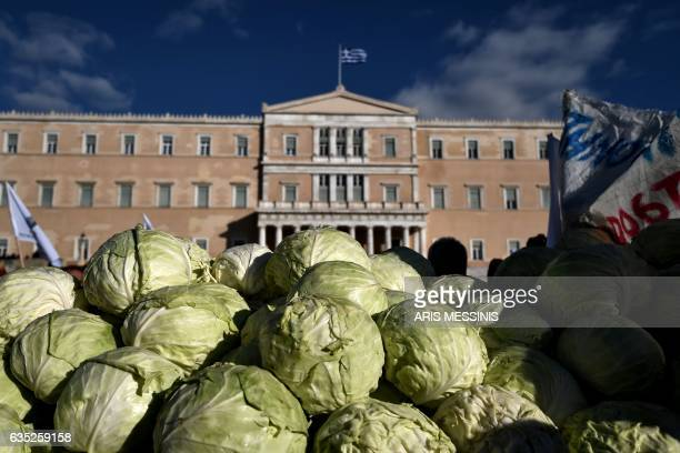 TOPSHOT A pile of cabbages lie near Greek farmers protesting in central Athens against the new taxation measures during an antiausterity...