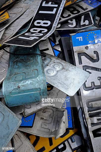 A pile of car license plates is seen at Allo Casse Auto's car demolition site in Athis Mons France on Wednesday Feb 24 2010 French consumer spending...