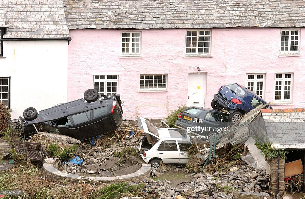 Boscastle Flood, 2004 - The Cornish village of Boscastle suffered the most severe flooding in 50 years as a an exceptional amount of rain. Two buildings were destroyed and many cars washed down the river.