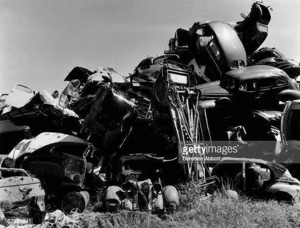 A pile of cars on a scrapheap USA 1954