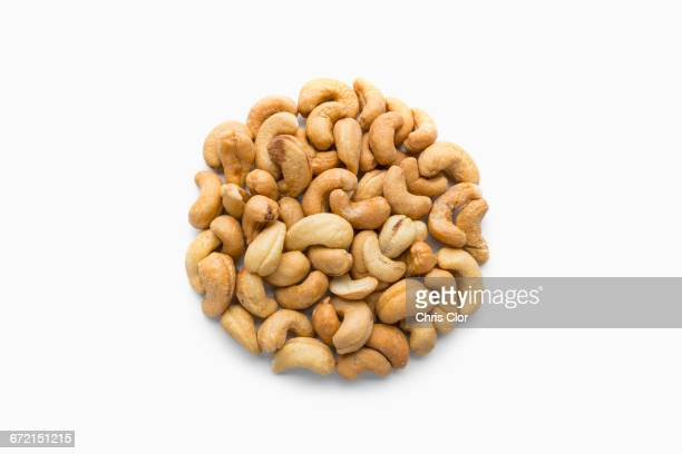 Pile of cashews in shape of a circle