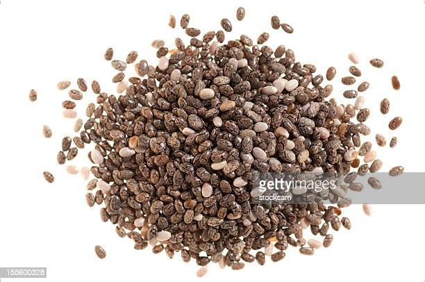 Pile of chia seeds on white