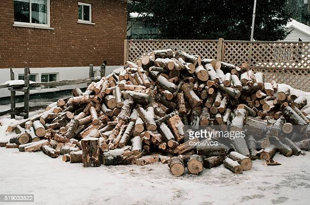 A pile of chopped logs with snow falling on them